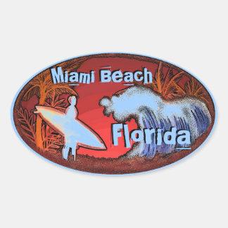 Miami Beach Florida blue surfer waves art stickers