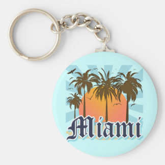 Miami Beach Florida FLA Basic Round Button Key Ring