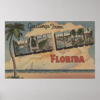 Miami Beach, Florida - Large Letter Scenes Poster