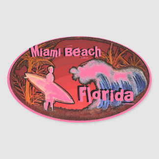 Miami Beach Florida pink surfer waves art stickers