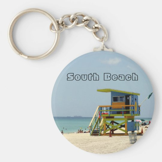 Miami Beach Lifeguard Shack Basic Round Button Key Ring
