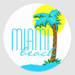 Miami Beach-Palm Tree Round Sticker