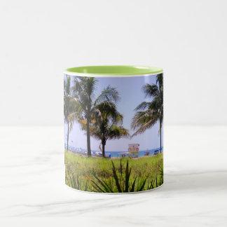 Miami Beach Palms Two-Tone Coffee Mug