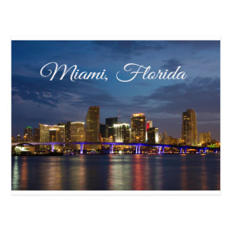Miami Beach Skyline Florida Travel Postcard