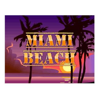 Miami Beach Sunrise and Palm Trees Postcard