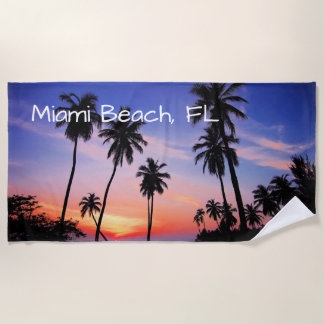 Miami Beach Tropical Scenic Sunset Beach Towel