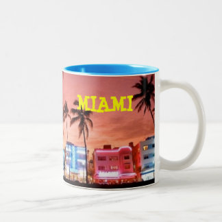 MIAMI beach Two-Tone Coffee Mug