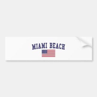 Miami Beach US Flag Bumper Sticker