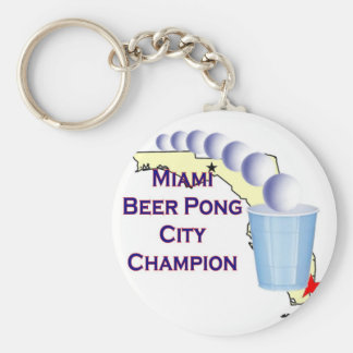 Miami Beer POng Champion Key Chain