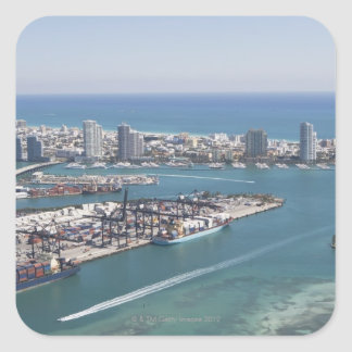 Miami Cityscape 2 Square Sticker