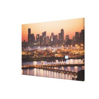 Miami Cityscape Stretched Canvas Prints
