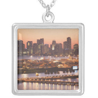 Miami Cityscape Silver Plated Necklace