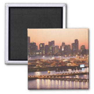 Miami Cityscape Square Magnet