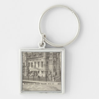 Miami County Court House Silver-Colored Square Key Ring