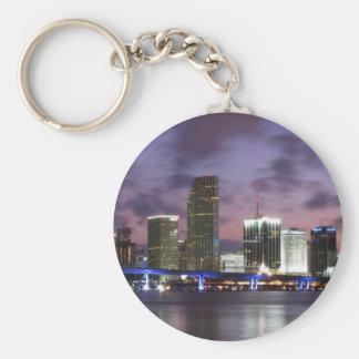 Miami Evening Skyline Keychain