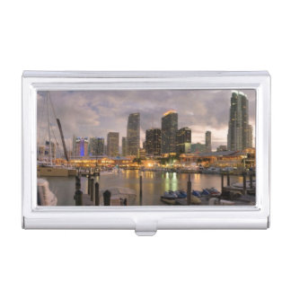 Miami financial skyline at dusk business card holder
