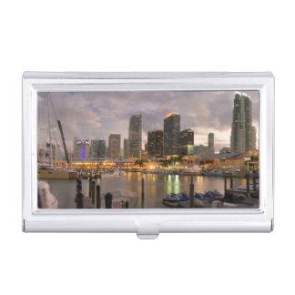 Miami financial skyline at dusk business card holders
