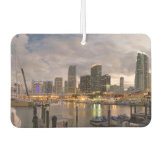 Miami financial skyline at dusk car air freshener
