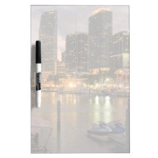 Miami financial skyline at dusk dry erase board