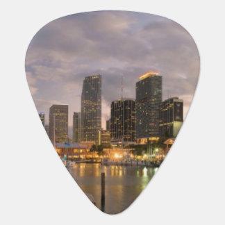 Miami financial skyline at dusk guitar pick