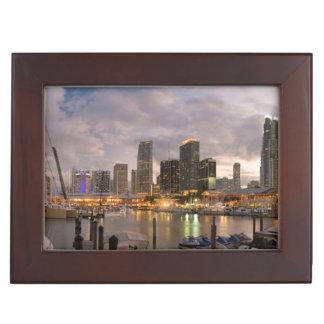 Miami financial skyline at dusk keepsake box