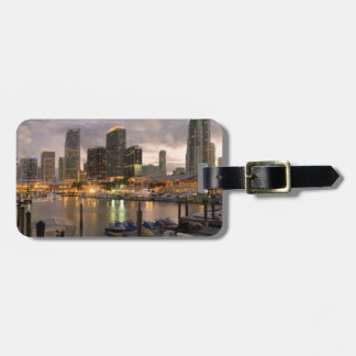 Miami financial skyline at dusk luggage tag
