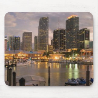 Miami financial skyline at dusk mouse mat