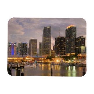 Miami financial skyline at dusk rectangular photo magnet
