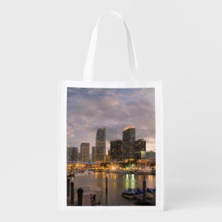 Miami financial skyline at dusk reusable grocery bag