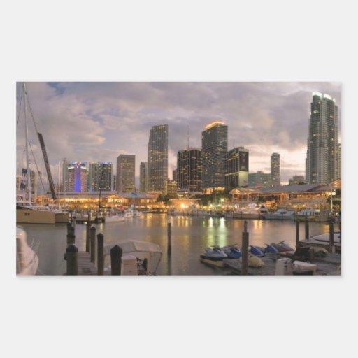 Miami financial skyline at dusk rectangular sticker