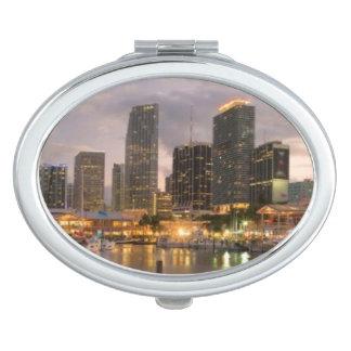 Miami financial skyline at dusk travel mirrors