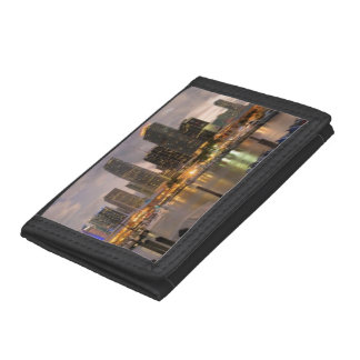 Miami financial skyline at dusk tri-fold wallet