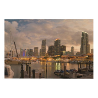 Miami financial skyline at dusk wood print