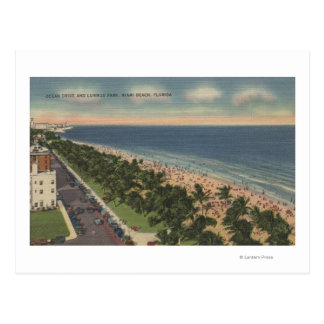 Miami, FL - Ocean Drive and Lummus Park Postcard