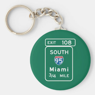 Miami, FL Road Sign Key Ring