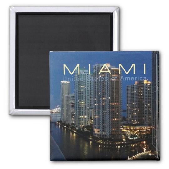 Miami Florida at Night Travel Photo Fridge Magnet