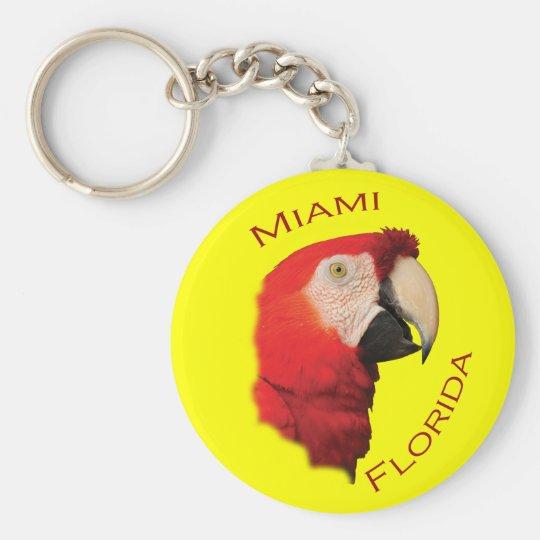 Miami, Florida Basic Round Button Key Ring