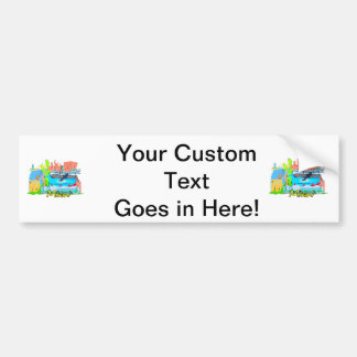 miami florida city watercolour graphic design trav car bumper sticker