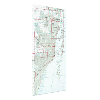 Miami Florida Map (1981) Canvas Print