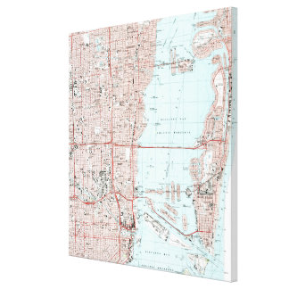 Miami Florida Map (1988) Canvas Print