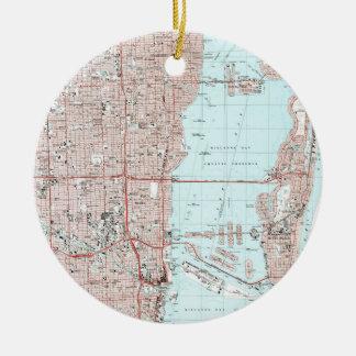 Miami Florida Map (1988) Christmas Ornament