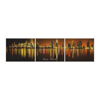 Miami Florida Night Skyline Reflection on Ocean Canvas Print