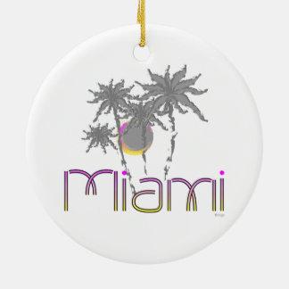 Miami, Florida Palms Cool Round Ceramic Decoration