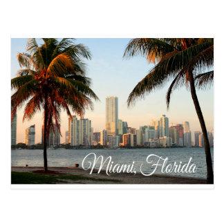 Miami Florida Skyline and Harbor At Night- USA Postcard