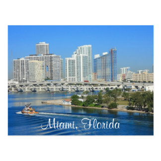 Miami Florida Skyline and Harbor Postcard