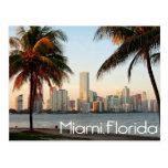 Miami Florida Skyline and Harbour At Night- USA Postcard