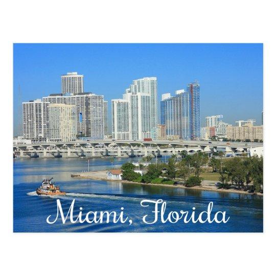 Miami Florida Skyline and Harbour - USA Postcard