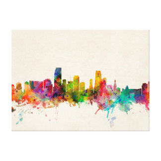 Miami Florida Skyline Cityscape Gallery Wrapped Canvas