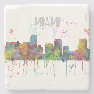 MIAMI FLORIDA SKYLINE STONE COASTER