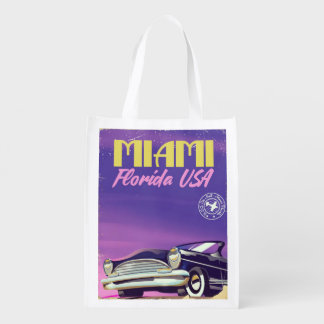 Miami Florida USA vintage poster Reusable Grocery Bag